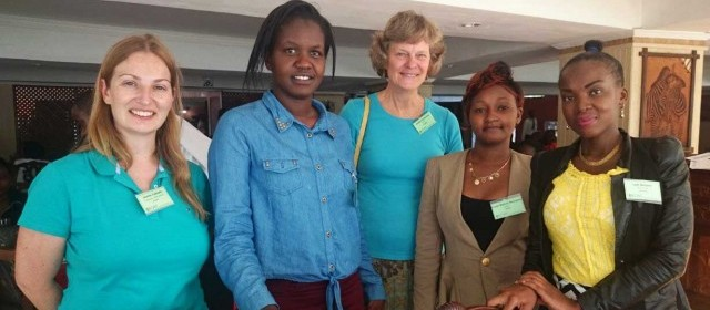 Mary James (second from left) with other conference members, including SASOL staff member Evalyn (second from right).